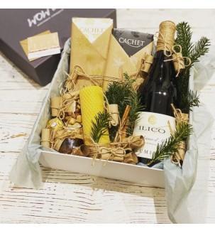Подарочный набор с вином и медовой свечой №309 Подарки на Новый Год - 1