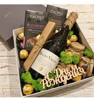 Подарунковий набір з вином, горіхами і шоколадом №303