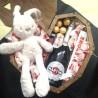 Дерев'яне подарункове серце з іграшкою, солодощами та мартіні