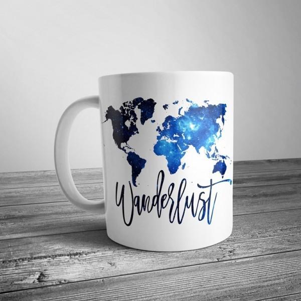 """Чашка с принтом """"Карта мира"""" синяя"""