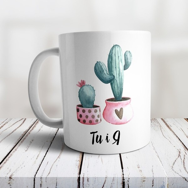 """Чашка з кактусами и написом """"Ти і я"""""""