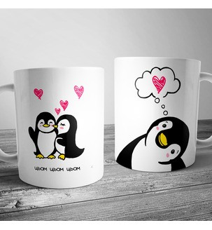 """Чашка із пінгвінами """"Цьом"""""""