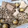 Набір ялинкових іграшок з дерева Подарунки на Новий Рік - 2