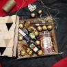 Дерев'яний подарунковий бокс міні-пляшечками та флягою