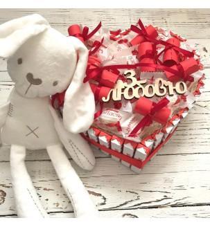 """Подарочный набор """"Сладкое сердце"""" с игрушкой № 215"""