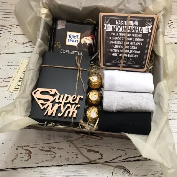 """Подарочный набор """"SUPER муж"""" мужчине в деревянной коробке"""