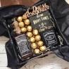 Подарочный бокс с виски и флягой Джек Дениалс в деревянной коробке